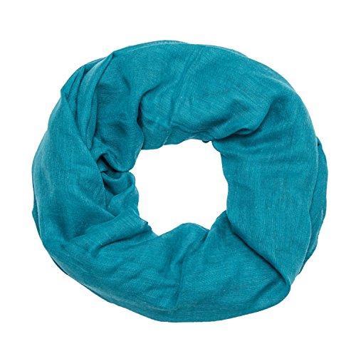 MANUMAR Loop-Schal für Damen einfarbig | feines Hals-Tuch in petrol als perfektes Herbst Winter Accessoire | Schlauch-Schal | Damen-Schal | Rund-Schal | Geschenkidee für Frauen und Mädchen
