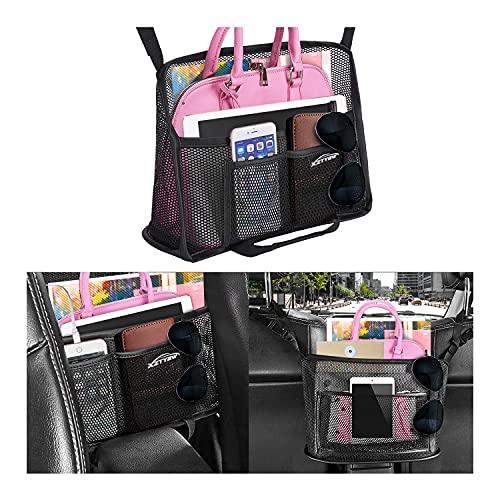 Car Net Pocket Handbag Holder, Car Organizer Back Seat, Upgrade Handbag Purse Holder For Car, Large Capacity Car Net Bag Barrier of Back Seat Dog Kids Helps To Safe Driving