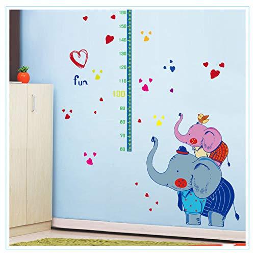 QWHUA Adorables Éléphants Et Éléphants Junior De Taille Moyenne pour Enfants, Chambre De Croissance, Tableau De Croissance, Décalque Mural