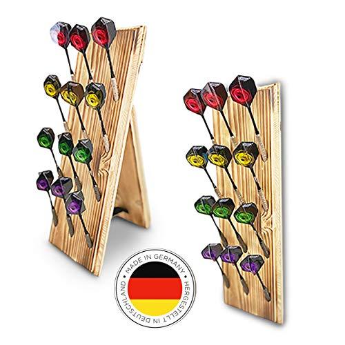 Dart Holz Dartständer für 12 Dartpfeile | Clevere Darts Aufbewahrung Halter Made in Germany | Standfunktion oder Wandhalterung an die Dartscheibe & Dartboard | Zubehör Display | Steeldarts Softpfeile