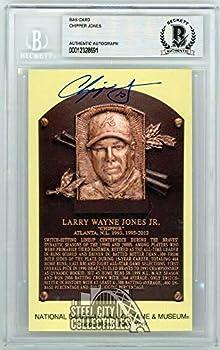 Chipper Jones Autographed Hall of Fame Plaque Slabbed Postcard - BAS - Baseball Slabbed Autographed Cards