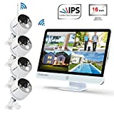 "YESKAMO Wireless Security Camera System Outdoor [ Floodlight & 16"" Monitor] 1080p Spotlight WiFi IP Cameras with 16"" Full HD IPS Monitor for Home Surveillance Kit Support 2 Way Audio No Hard Drive"