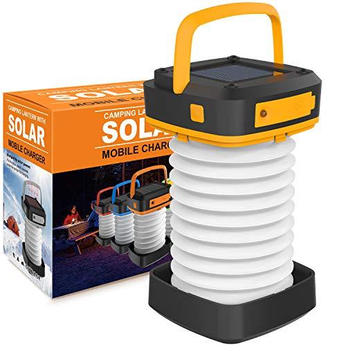 Lanterna da campeggio a LED a energia solare, mini torcia notturna ricaricabile portatile con caricatore USB come Powerbank per escursionismo, tenda da giardino, patio, emergenze