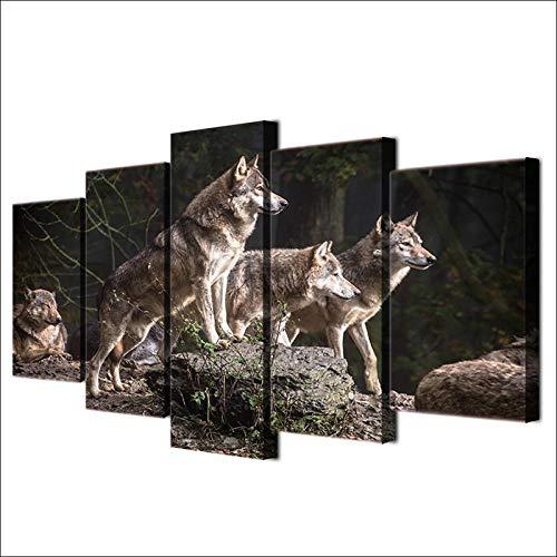 YUANSAHN canvas afdrukken canvas schilderij woonkamer muurkunst dier poster frame modulair Hd gedrukt 5 stuks Wolf groep honing decor afbeeldingen