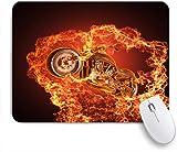 SUHOM Gaming Mouse Pad Rutschfeste Gummibasis,Chopper Fahrrad platzt durch Feuer Motorrad Motorrad gefährlicher Sport,für Computer Laptop Office Desk,240 x 200mm