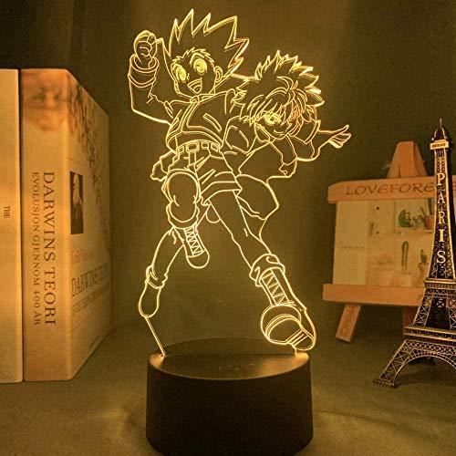 Lámpara de ilusión 3D Noche Luz LED Anime Hunter x Hunter Killua y Gon Niños Regalos de cumpleaños Dormitorio Dormitorio Dormitorio Junto a la cama