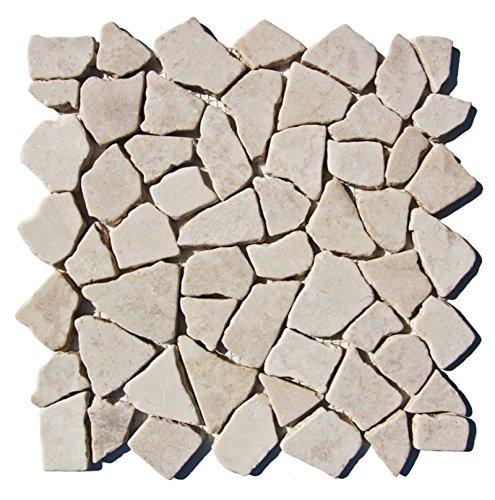 M-1-003 - 1 m² = 11 Fliesen - Naturstein Marmor Bruchsteinmosaik Mosaikfliesen Marmormosaik Fliesen Lager Verkauf Stein-Mosaik Herne NRW