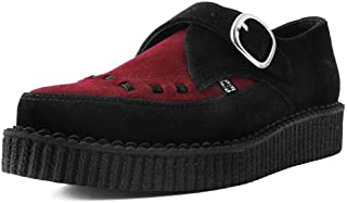 e2534292506f4b T.U.K. Shoes Hommes Femmes Noir Et Bourgogne Daim Boucle Moine Pointu  Creeper EU44 / UKM10