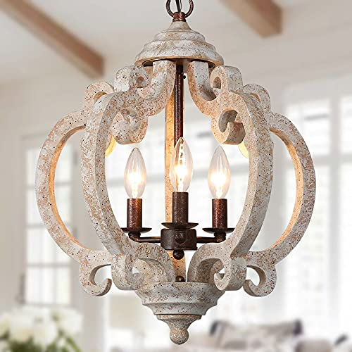 """Farmhouse Chandelier for Dining Room, Wood Chandelier for Kitchen Island, Foyer, Hand-Painted Weathered White Wood Finish, 3-Light, 15.5"""" Dia x 19"""" H"""