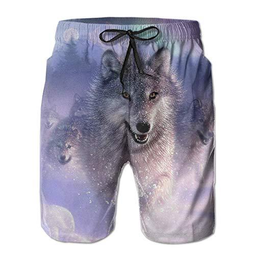 Wolf in Snow Shorts Casuales de Verano para Hombre Ropa de Playa Deportes Natación Shorts Cortos Shorts de Secado rápido para Surf