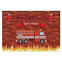 Funnytree 7x5フィート レッド 消防車 誕生日パーティー バックドロップ 音 アラーム 赤ちゃん 男の子 写真 背景 レンガ壁 火災 救助 消防士 招待状 デコレーション フォトバナー フォトブース小道具