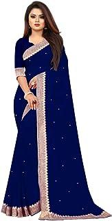 Taksh Women's Plain Weave Georgette Saree With Unstiched Blouse Piece