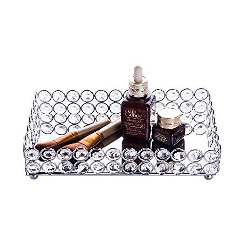 Feyarl, Kosmetik-Tablett mit Kristallperlen, rechteckig, zum Aufbewahren und organisieren von Schmuck und Make-Up silber