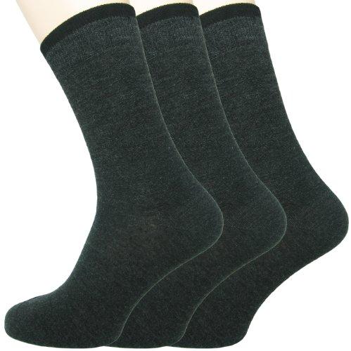Loonysocks Herren 3 Paar Socken Ascona Merino Wolle, dunkelgrau,Gr.43-46