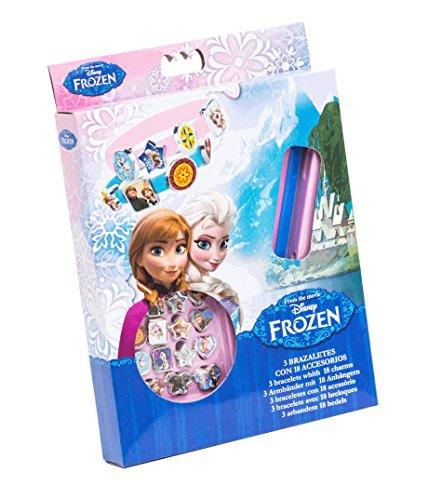 Disney Frozen 92075 - 3 Armbänder aus Gummi mit 18 Anhänger, Geschenkbox, 15 x 2.5 x 20.5 cm