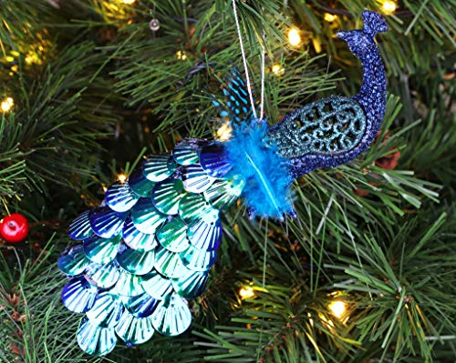 Christmas Concepts 20cm Peacock Decoration With Jewelled Tail - Luxury Christmas Tree Decorations (Midnight Blue Sequins, Pack of 1)