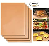 DINOWIN 4 Piezas Estera para Parrilla de Barbacoa BBQ, Reutilizable Láminas Antiadherentes Láminas Resistentes al Calor para Horno Grill Parrilla y Barbacoa (Oro)