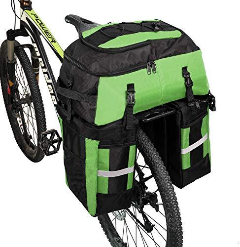 Pellor 自転車バッグ 自転車サイドバッグ 70L 大容量 収納力抜群 2way 自転車バックバッグ 登山 旅行 キャンプ ハイキング リアバッグ 専用レインカバー付き 5色選択 男女兼用 キャリアバッグ(グリーン,70L)