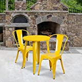 Flash Furniture Commercial Grade 24' Round Yellow Metal Indoor-Outdoor Table Set with 2 Cafe Chairs