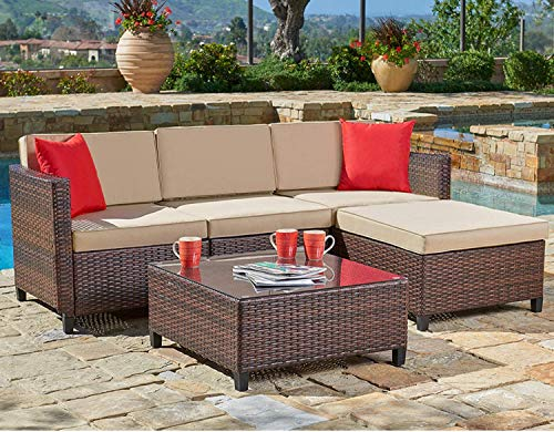 SUNCROWN 5-Piece Outdoor Sectional Sofa, All-Weather Brown Wicker Furniture, Patio Conversation Set with Brown Seat Cushions and Glass Coffee Table for Patio Backyard Pool