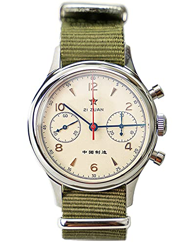 Gaviota 1963 '''',' con correa de cuero negro extra ST1901 Movimiento zafiro cristal reloj piloto cronógrafo C1963N