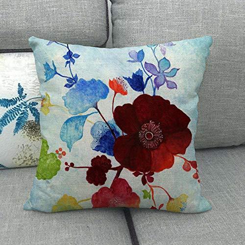 LPLH Funda de Almohada de Abrazo de Lino con Estampado de Flores Rojas Funda de Almohada de Abrazo de Almohada de 057-7_45 * 45cm