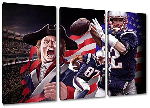 New England Football, Fan Artikel Leinwandbild 3Teiler Gesamtmaß 120x80cm, Auf Holzrahmen gespannt, Kein Poster oder billig Plakat, Must Have für echte Fans