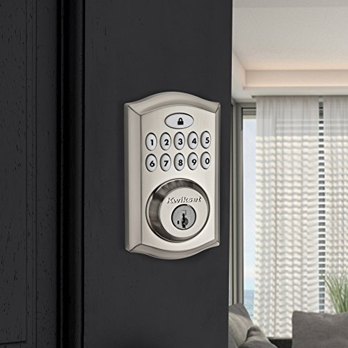Kwikset 99130-002 SmartCode 913 Non-Connected Keyless Entry Electronic Keypad Deadbolt Door Lock Featuring SmartKey Security, Satin Nickel
