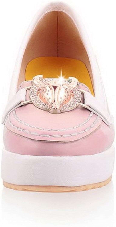 WeenFashion Women's Closed Round Toe Low Heel PU Pumps whith Glass Diamond and Metalornament , Pink, 10 B(M) US