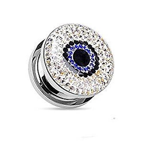 00GA (10mm) Blaue Augen-Magie Kristall Transparent Kleber-überzogenes Fit chirurgischem Stahl Flesh Tunnel-Ohr-Stecker-Piercing Jewelllery