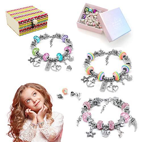 AmzKoi Geschenke für Mädchen, Charm Armband DIY Kit 65 versilberte DIY-Perlen + 3 Größen Schlangenketten Armbänder, Selber Schmuck Basteln Bastelsetm, Geschenk Mädchen 5 6 7 8 9 10 11 Jahre