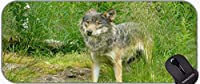 XXL大型マウスパッド、オオカミ自然動物ハンター毛皮の毛皮のパッドが付いている縫い