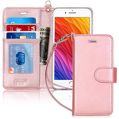 "FYY Luxury PU Leather Wallet Case for iPhone 6 Plus/6s Plus, [Kickstand Feature] Flip Phone Case Protective Cover with [Card Holder] [Wrist Strap] for Apple iPhone 6 Plus/6s Plus 5.5"" Rose Gold"