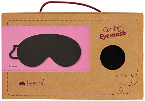 Leschi SCHLAFMASKE lichtdicht für erholsamen Schlaf/Augenmaske mit Kühlkissen/Schlafbrille kühlend und wärmend, aus Baumwolle/Reisegeschenk für Frauen, Kinder, Mädchen/Peanut, schwarz