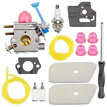 Wellsking 128CD Carburetor Compatible with 125C 125L 125E 125LDX 128LD 128L 128LDX 124C 124L 128C String Trimmer Brush Cutter Rep C1Q-W38 545081850 + Tune Up Kits