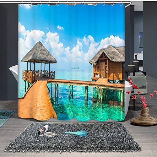 JZDH Shower Curtain for Bathroom Wooden House And Gazebo By The Sea Pattern Shower Curtain, Digital Printing Waterproof Shower Curtain With 12 Hooks