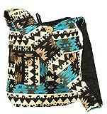 Tribe Azure Large Quilted Hobo Shoulder Bag Crossbody Sling Beach Travel (Blue Black)