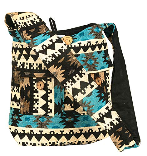 Tribe Azure Large Blue Quilted Hobo Shoulder Bag Crossbody Sling Beach Travel