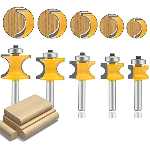 LEATBUY Bullnose Router Bit 1/4 Inch Shank Set 5PCS, Radius Half Round Bearing Wood Milling Cutter Drilling Carbide Tool For Door Table Cabinet Shelve(1/4 Half Round)