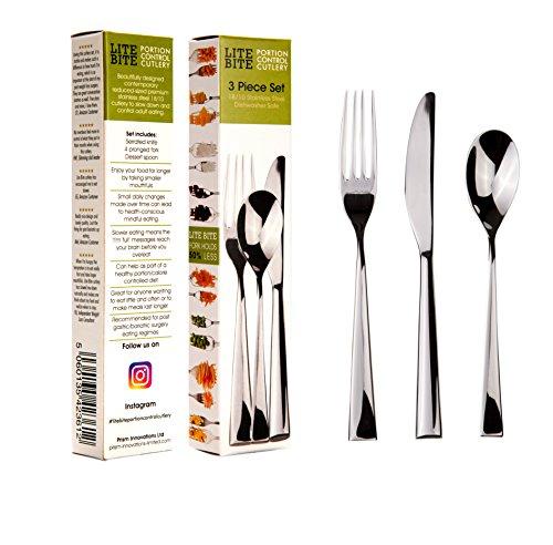 Lite Bite Portion Control Besteck-Set, 18/10 Edelstahl, 3-teilig Trainingshilfe für langsameres Essen