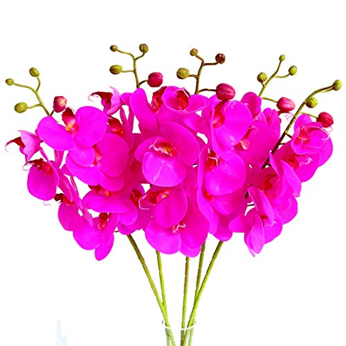 Htmeing 5 Pcs Artificial Butterfly Orchid Flower Fake Flowers Plant Home Wedding Decoration (Dark Purple)