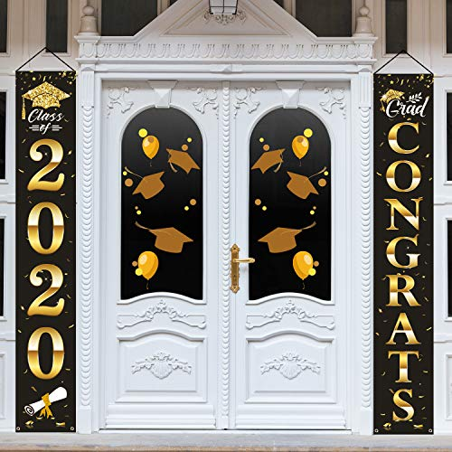 Whaline Graduation Hanging Banner, Graduation Porch Sign Backdrop Congrats Graduation Party Decorations for Home School Wall Door Yard Apartment (Black, Gold and White)