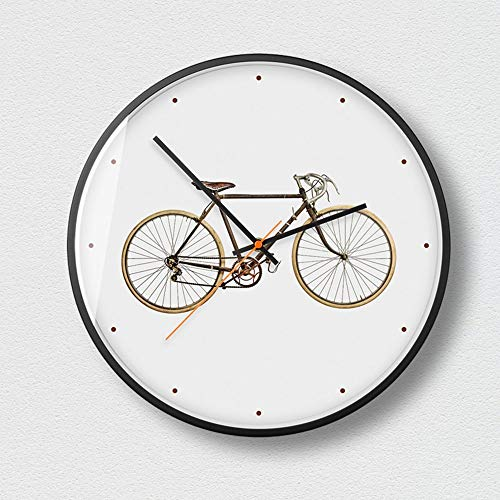 L.J.JZDY wandklok fiets patroon 14 inch muur klok woonkamer moderne eenvoudige stille kwarts klokken creatieve muur horloge slaapkamer klok circulaire