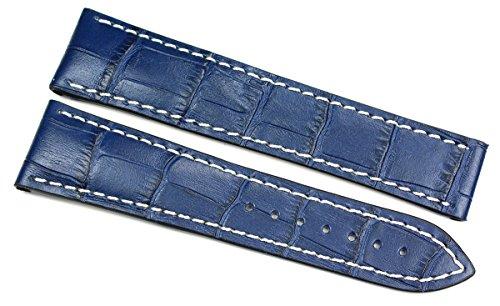 Rios1931 22 mm/18 mm Cinturino per orologio in vera pelle fatto a mano coccodrillo goffrato fascia blu per fibbia deployante adatta per Omega Germany coccodrillo goffrato Alligator cinturino per orol