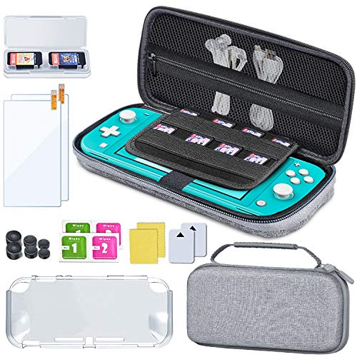 「Nintendo Switch Lite用ケースセット」ESYWEN ハンドル付きEVA防水保護層設計キャリングケース TPU素材本体カバー 強化ガラスフィルム 選べるサイズスティックキャップ 追加ゲームガード収納ケース 収納バッグで外出と出張に便利