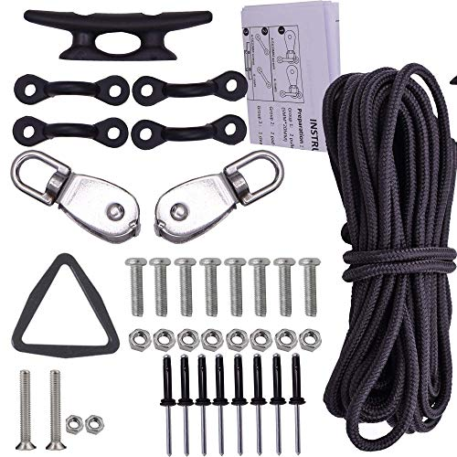 YYST Kayak Canoes Anchor Trolley Kit System w/Pulleys Pad...