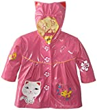 Kidorable Pink Lucky Cat PU All-Weather Raincoat for Girls w/Fun Ears, Flowers, Fish Bowl Pocket - Pink - 3 Years