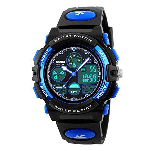 Kids Outdoor Sports Children's Waterproof Wrist Dress Watch with LED Digital Alarm Stopwatch Lightweight Silicone for Boy Girl (Blue)