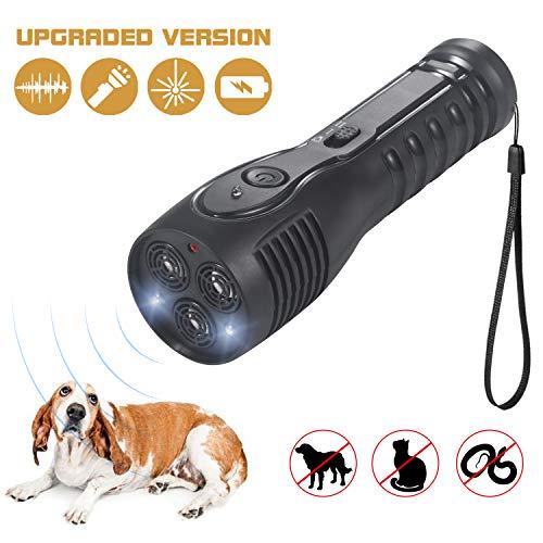 PetUlove Handheld Ultrasonic Dog Repeller, Dog Bark Deterrent Rechargeable with LED Flashlight Infrared Anti Barking Device Good Behavior Dog Training[Upgraded Version]