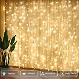 300 luci per tende a LED, 3 x 3 m con luce gialla calda, 8 modalità, impermeabile IP44 per interni ed esterni, stanza parziale, festa di matrimonio, gazebo da giardino, decorazioni natalizie